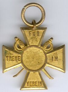 Baden-Abzeichen-Kreuz-034-Fuer-Treue-im-Verein-034-goldfarbend-vergoldet-I-II