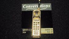 Vintage Brooch Pin SIGNED SWAROVSKI Cell Phone Clear Crystal  Goldtone ON CARD
