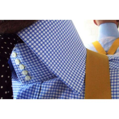 100 Blu Alto Collo Colletto Tessuto 4 Per Uomo Camicia A Bottoni Quadretti YvOvq