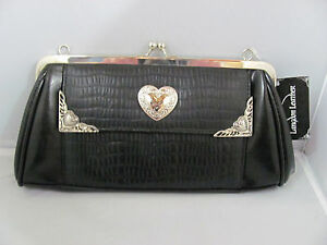 Image Is Loading Nwt Black Langdon Leather Magnolia Purse Heart Pocketbook