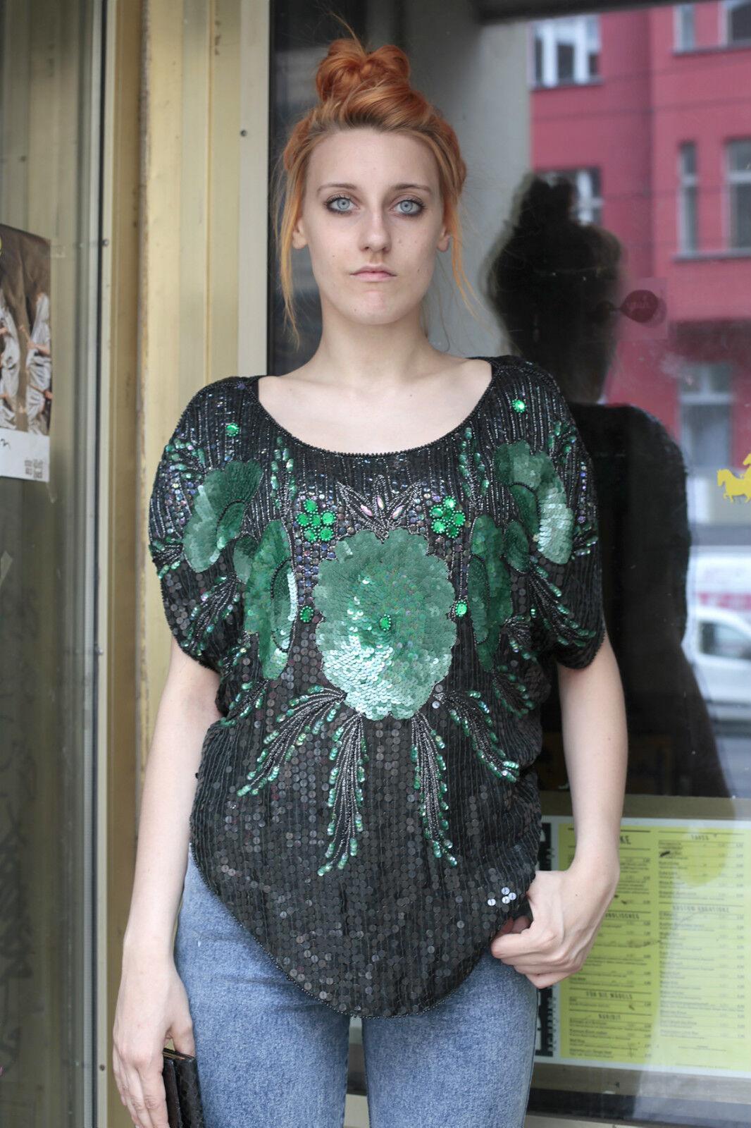 Damen Pailletten Shirt Top schwarz grün 40 schwarz 80er True VINTAGE 80s damen