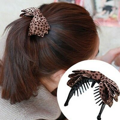 Hot Sell Korean Style Women Leopard Print Bow Hair Clips Claws Ponytail Holder