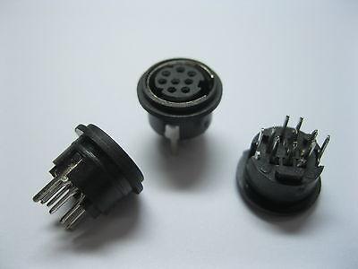 10 Pcs Mini 8 Pin Circular DIN Connector Snap and Lock Vertical Mini-DIN
