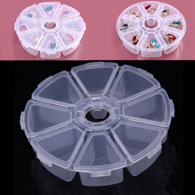 8 Grid Clear PP Round Jewelry Bead Organizer Box Storage Container Case P Dzjo
