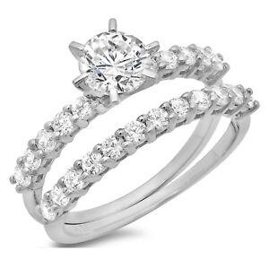 3-ct-Round-Cut-Bridal-Statement-Engagement-Wedding-Ring-Band-Set-14k-White-Gold