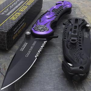 8-5-034-TAC-FORCE-FLAMING-SKULL-SPRING-ASSISTED-TACTICAL-POCKET-KNIFE-Blade-Open