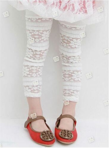 Girls Kids Lace Leggings Size 1 2 3 4 5 WHITE CREAM with Comfy Cotton Top