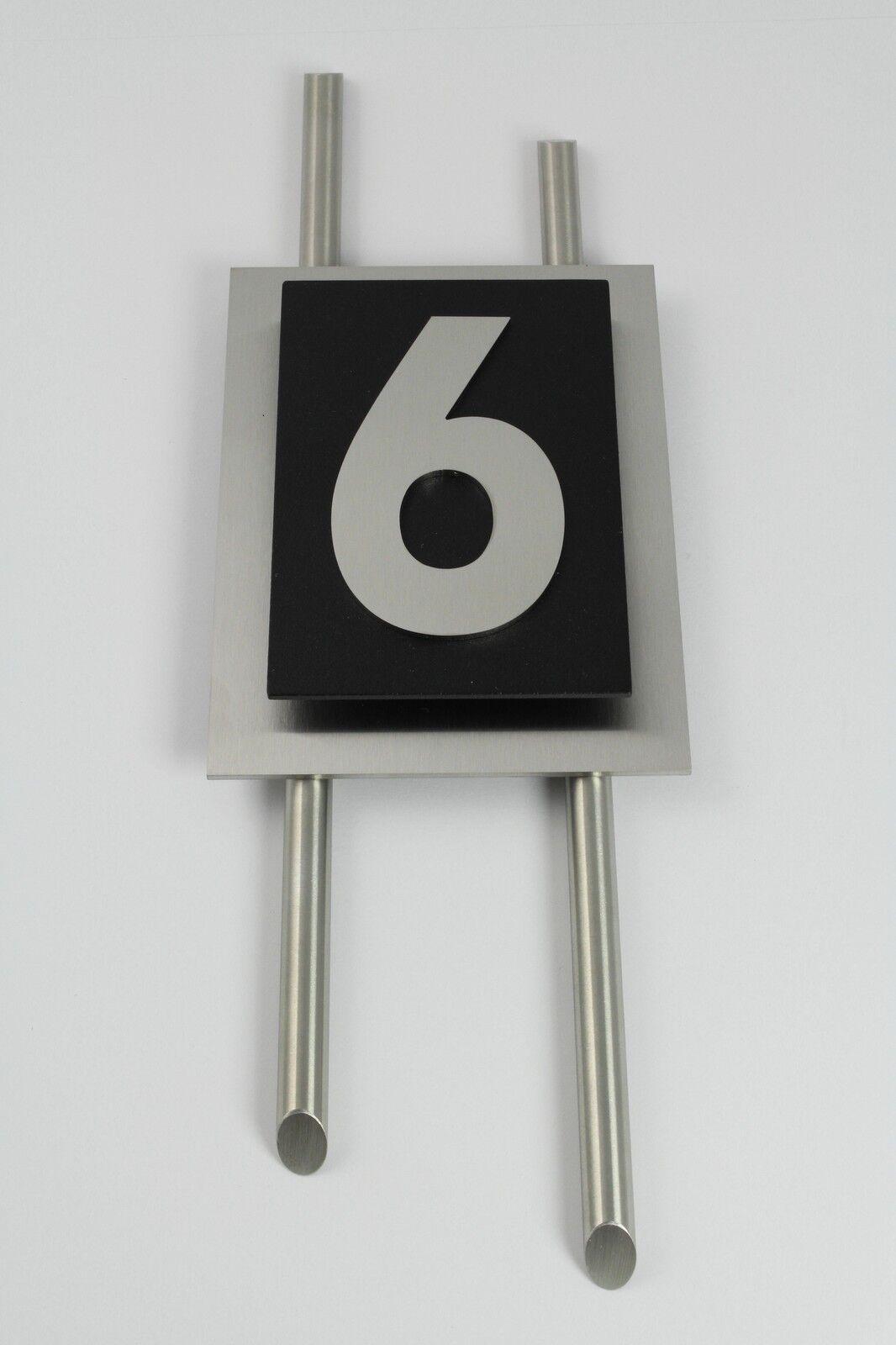 Hausnummer Edelstahl Schwarz Design Verona 1-stellig Zahl 1-9 Zierstangen V2A Z