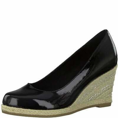 Women/'s Marco Tozzi Navy Patent Mid Heel Wedge Court Shoe