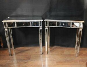 Image Is Loading Pair Art Deco Mirror Side Tables Mirrored Occasional