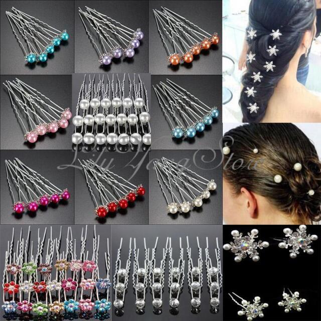 5/20pcs Wedding Bridal Pearl Flower Crystal Hairpin Hair Pins Clips Accessary