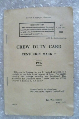 Pamphlet 1955 Crew Duty Card Centurion Mark 7 by War Officer