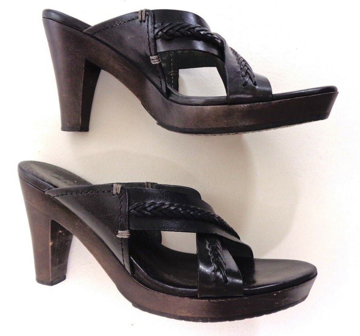 Cole Hahn Womens Sandals Black Leather Wood High Heel Strappy Sandals Womens Size 9B 62a705