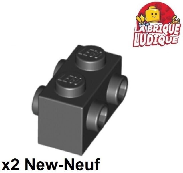 LEGO Lot of 5 Black Brick Modified 1x2 with Studs on 2 Sides Part 52107