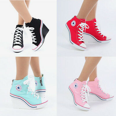 Wedges Trainers Heels Sneakers Platform High Top Ankles Boots Shoes 775 Back Zip