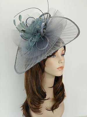 New Church Derby Wedding Pleated Poly Fascinator Dress Hat w Headband 2450 Grey