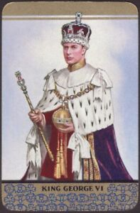 Playing-Cards-Single-Card-Old-Vintage-KING-GEORGE-VI-Royal-Art-Portrait-CROWN-A