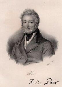 Portrait-de-Ferdinando-Paer-Lithographie-originale-XIXe