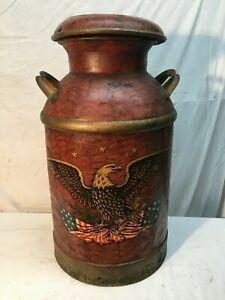 Vintage-10-Gallon-Metal-Milk-Can-Tole-Painted-American-Eagle-Military-Folk-Art