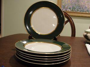 FITZ-AND-FLOYD-RENAISSANCE-GREEN-6-DINNER-PLATES-10-1-4-034