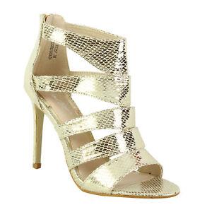 b54de24ee4ba New Women s Ladies High Heel Zip Up Caged Gladiator Ankle Girls ...