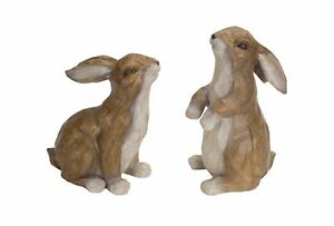 Wood-Carved-Look-Polystone-Rabbit-Figurines-set-of-2