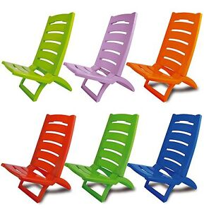 Plastic Portable Folding Low Beach Chairs Coloured Garden