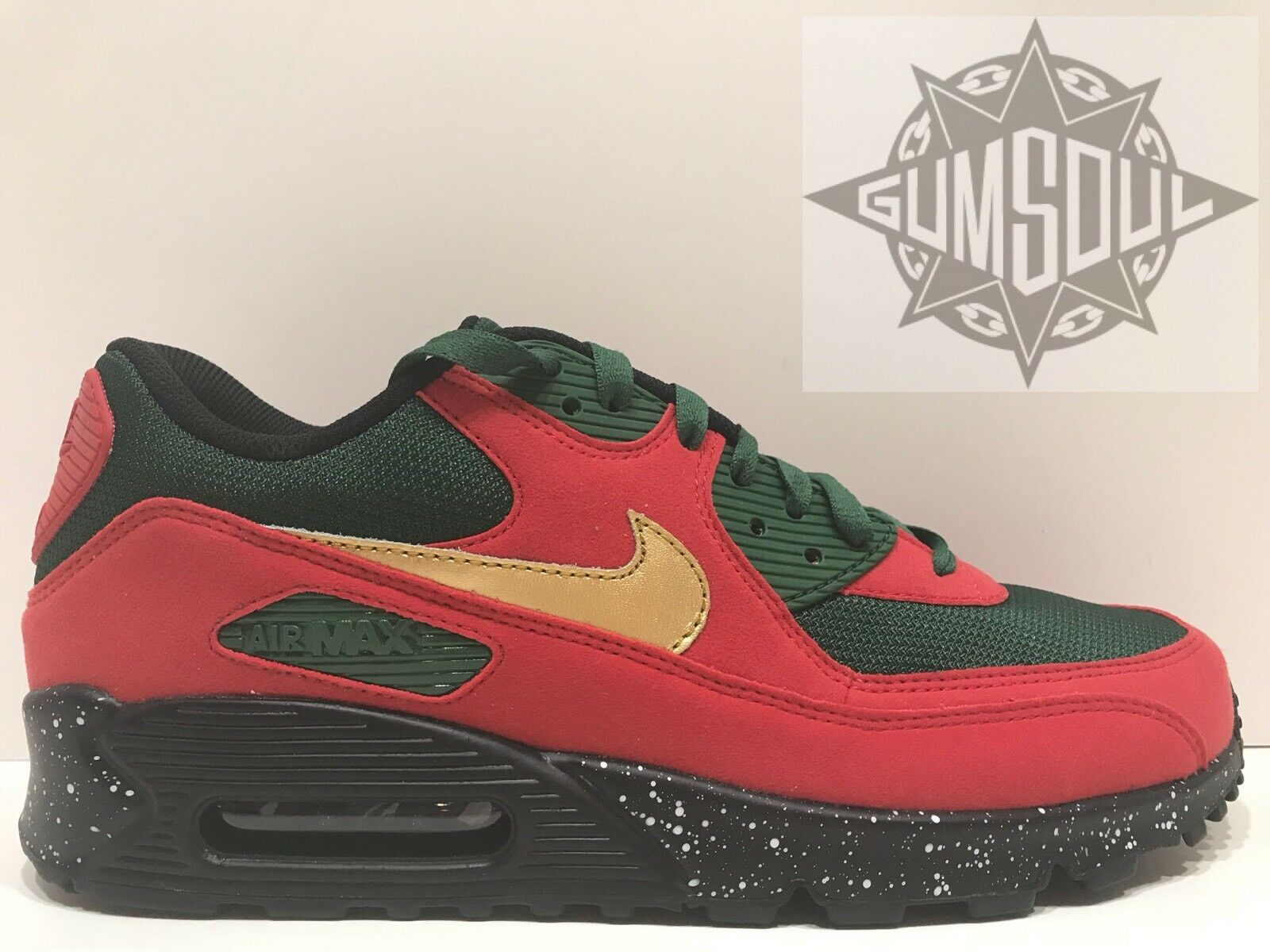 W NIKE AIR MAX 90 ID BLACK GREEN RED gold SPECKLED MIDSOLE 931896 992 sz 10.5