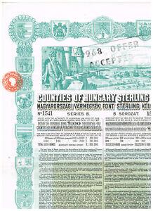 Counties-of-Hungary-Sterling-Loan-1927-LB-100-nice