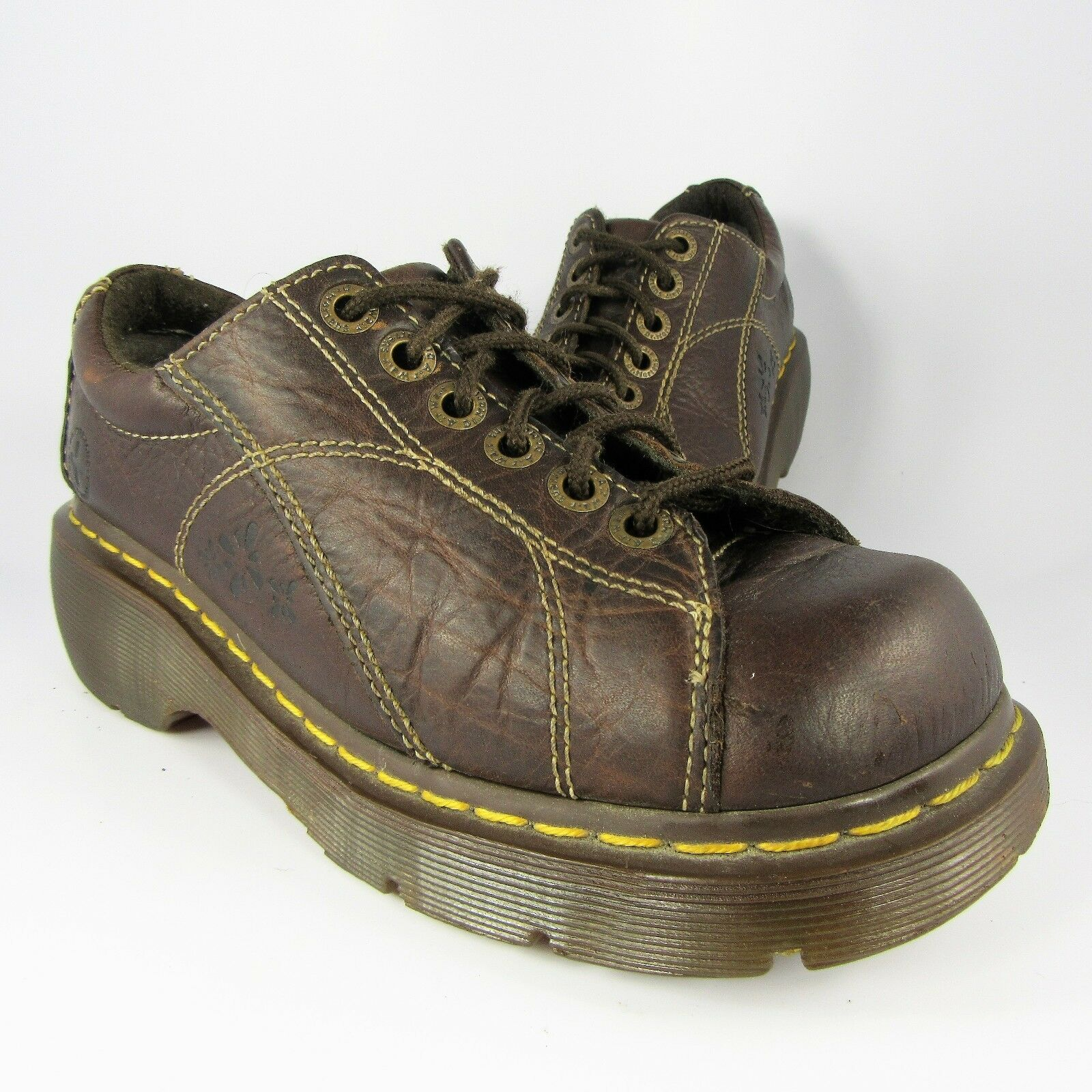 Dr DOC Martens Air-Cushion Oxfords Womens Size 7M Flat-Brown Leather Lace-Ups