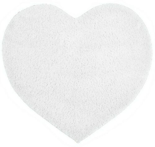 Allure Heart Shaped Soft Absorbent Microfibre Non-Slip Large Bath Mat White Pink