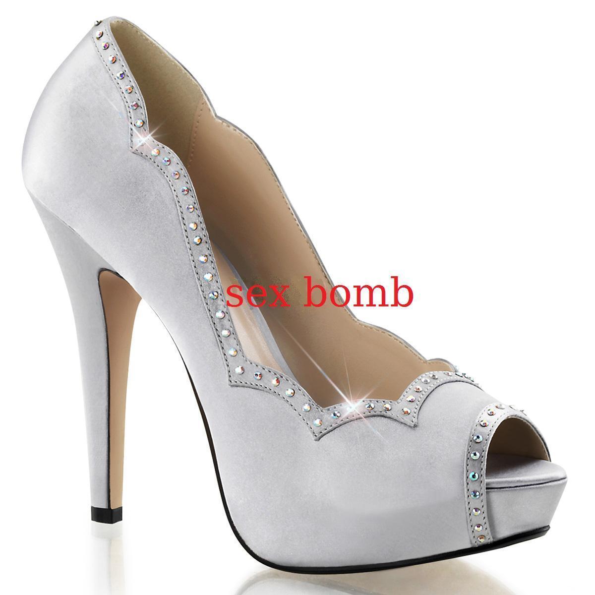 SEXY scarpe DECOLTE' STRASS tacco 13 dal 35 satin al 41 ARGENTO