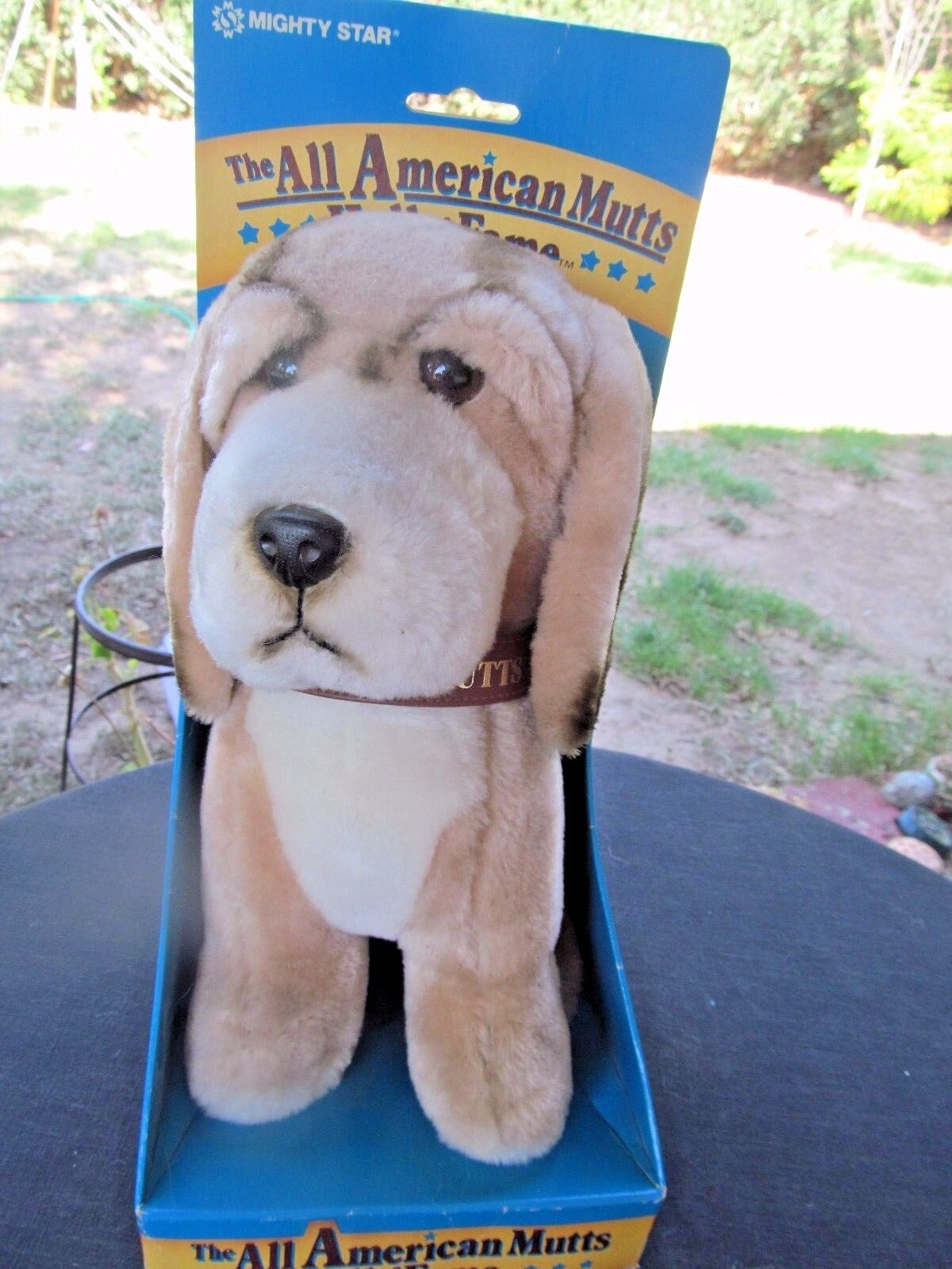 MIGHTY STAR ALL AMERICAN MUTTS HALL OF FAME PLUSH DOG 1986 Braun tan Weiß NIB