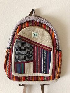 Details zu Hippie Eco Silk Rucksack THC Free PURE Hemp Backpack School Wool BAG Nepal BP57