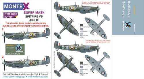 Montex Super Mask 1:24 Spitfire VB for Airfix #2 Spraying Stencil #K24081