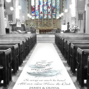 Church//Venue Carpet Decoration Personalised WEDDING AISLE RUNNER 20ft 60ft