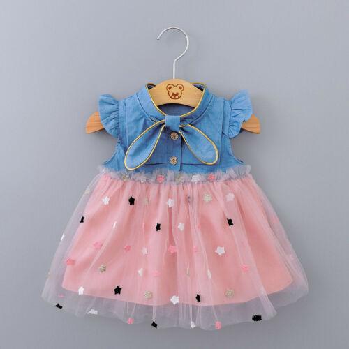 Infant Baby Girls Kids Dress Princess Tulle Star Denim Dress Outfits Set Clothes
