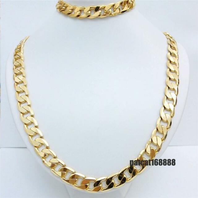 Stamped ITALY 24KGL 24K Yellow Gold Filled Men's Chain Necklace Bracelet Set