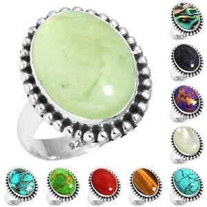 925-Sterling-Silver-Gemstone-Ring-Women-Jewelry-Size-5-6-7-8-9-10-11-12-13-yR605