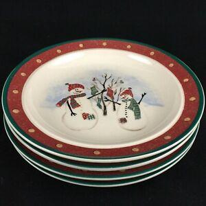 Set-of-4-VTG-Bread-Plates-by-Royal-Seasons-Stoneware-Snowmen-RN2-Christmas