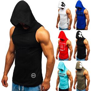 Tanktop T-Shirt Tee Achselshirt Muskelshirt Kapuze Herren Mix BOLF 3C3 Print WOW