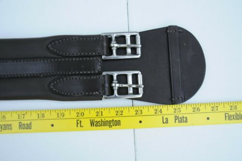 """New Dressage Girth Brown Padded Leather Elastic End 23/"""""""