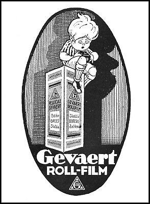 PUBBLICITA' 1927 GEVAERT ROLL FILM PELLICOLA FOTOGRAFIA SCATOLA BIMBO GIOCO