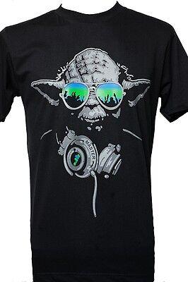 Black T Shirt Short Sleeve Graphic YODA Master Star War Men Tee Fashion Black