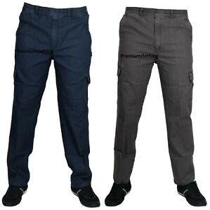 Mens-Denim-Combat-Cargo-Stretch-Jeans-Elasticated-Waist-Work-Wear-Chino-Pants