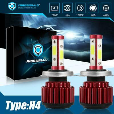 Red H4 Hi//Lo LED Super Bright White Headlight Headlamp Main Dipped Beam Bulbs