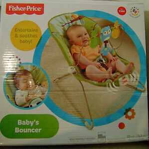 FISHER PRICE BABY BOUNCER GREEN GROVE W/ VIB x7037 *new*