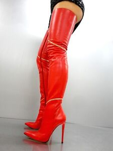 da6664578c56a Details zu CQ COUTURE OVERKNEE HIGH HEELS BOOTS STIEFEL ITALY LEATHER GOLD  CHAIN RED ROT 38