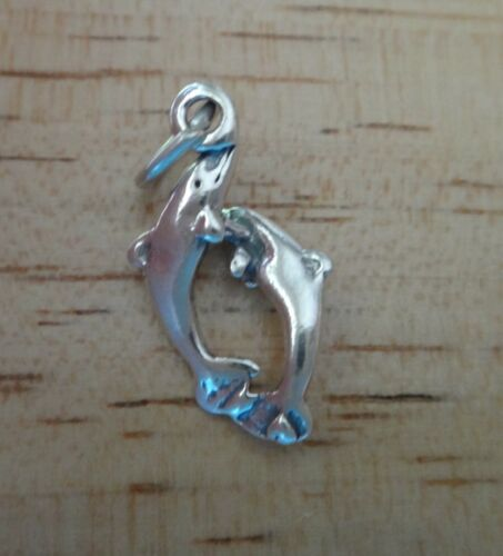 Sterling Silver 3D Poisson 20x12mm Double Dauphin Marsouin charme!