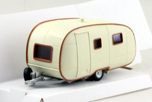 Remolque de caravanas blanco-marrón redonda ALT 1:43 Cararama maqueta de coche